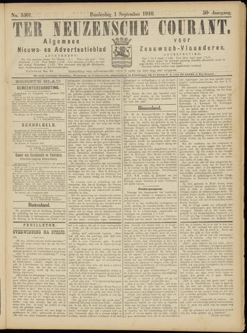 Ter Neuzensche Courant. Algemeen Nieuws- en Advertentieblad voor Zeeuwsch-Vlaanderen / Neuzensche Courant ... (idem) / (Algemeen) nieuws en advertentieblad voor Zeeuwsch-Vlaanderen 1910-09-01
