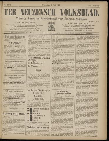 Ter Neuzensch Volksblad. Vrijzinnig nieuws- en advertentieblad voor Zeeuwsch- Vlaanderen / Zeeuwsch Nieuwsblad. Nieuws- en advertentieblad voor Zeeland 1917-07-04
