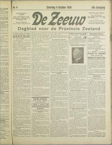 De Zeeuw. Christelijk-historisch nieuwsblad voor Zeeland 1930-10-04