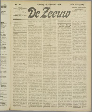 De Zeeuw. Christelijk-historisch nieuwsblad voor Zeeland 1916-01-18