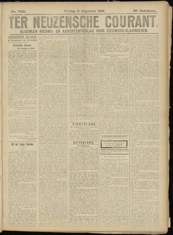 Ter Neuzensche Courant. Algemeen Nieuws- en Advertentieblad voor Zeeuwsch-Vlaanderen / Neuzensche Courant ... (idem) / (Algemeen) nieuws en advertentieblad voor Zeeuwsch-Vlaanderen 1924-08-15