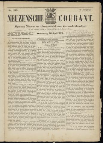 Ter Neuzensche Courant. Algemeen Nieuws- en Advertentieblad voor Zeeuwsch-Vlaanderen / Neuzensche Courant ... (idem) / (Algemeen) nieuws en advertentieblad voor Zeeuwsch-Vlaanderen 1876-04-26