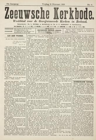 Zeeuwsche kerkbode, weekblad gewijd aan de belangen der gereformeerde kerken/ Zeeuwsch kerkblad 1916-02-18