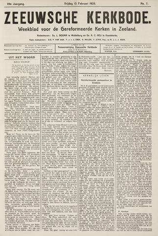 Zeeuwsche kerkbode, weekblad gewijd aan de belangen der gereformeerde kerken/ Zeeuwsch kerkblad 1925-02-13