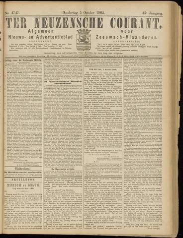 Ter Neuzensche Courant. Algemeen Nieuws- en Advertentieblad voor Zeeuwsch-Vlaanderen / Neuzensche Courant ... (idem) / (Algemeen) nieuws en advertentieblad voor Zeeuwsch-Vlaanderen 1905-10-05