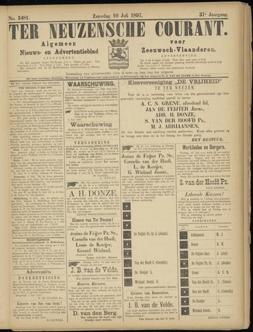 Ter Neuzensche Courant. Algemeen Nieuws- en Advertentieblad voor Zeeuwsch-Vlaanderen / Neuzensche Courant ... (idem) / (Algemeen) nieuws en advertentieblad voor Zeeuwsch-Vlaanderen 1897-07-10