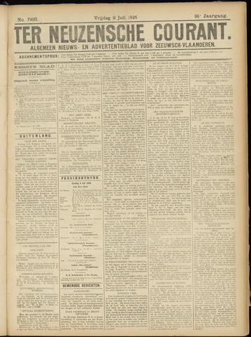 Ter Neuzensche Courant. Algemeen Nieuws- en Advertentieblad voor Zeeuwsch-Vlaanderen / Neuzensche Courant ... (idem) / (Algemeen) nieuws en advertentieblad voor Zeeuwsch-Vlaanderen 1926-07-02