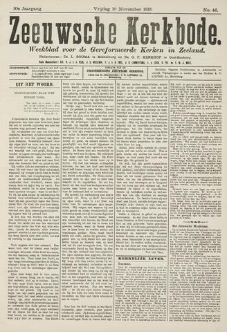 Zeeuwsche kerkbode, weekblad gewijd aan de belangen der gereformeerde kerken/ Zeeuwsch kerkblad 1916-11-10