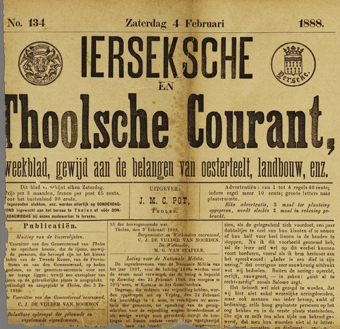 Ierseksche en Thoolsche Courant 1888