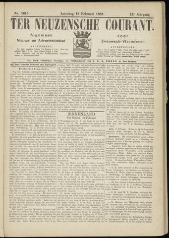 Ter Neuzensche Courant. Algemeen Nieuws- en Advertentieblad voor Zeeuwsch-Vlaanderen / Neuzensche Courant ... (idem) / (Algemeen) nieuws en advertentieblad voor Zeeuwsch-Vlaanderen 1881-02-19