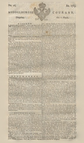 Middelburgsche Courant 1763-03-01