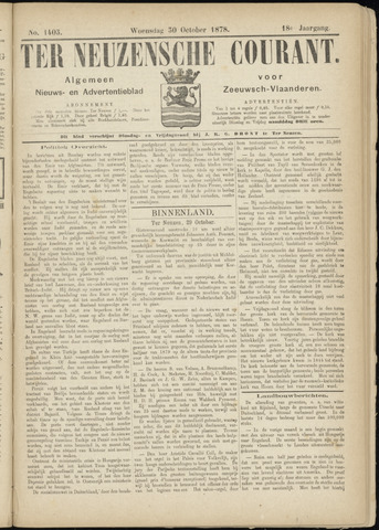 Ter Neuzensche Courant. Algemeen Nieuws- en Advertentieblad voor Zeeuwsch-Vlaanderen / Neuzensche Courant ... (idem) / (Algemeen) nieuws en advertentieblad voor Zeeuwsch-Vlaanderen 1878-10-30