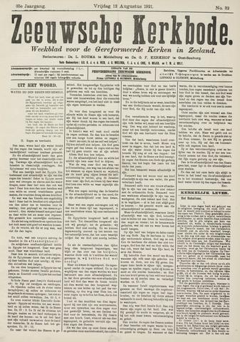 Zeeuwsche kerkbode, weekblad gewijd aan de belangen der gereformeerde kerken/ Zeeuwsch kerkblad 1921-08-12