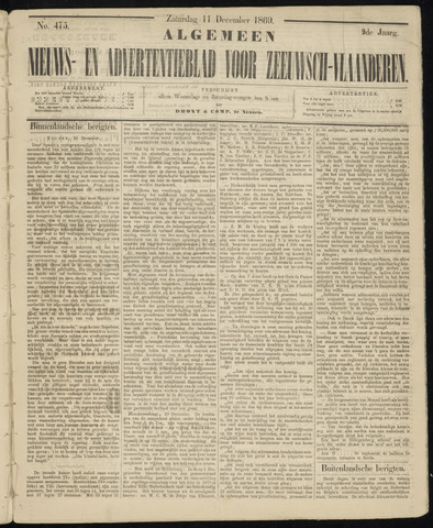Ter Neuzensche Courant. Algemeen Nieuws- en Advertentieblad voor Zeeuwsch-Vlaanderen / Neuzensche Courant ... (idem) / (Algemeen) nieuws en advertentieblad voor Zeeuwsch-Vlaanderen 1869-12-11