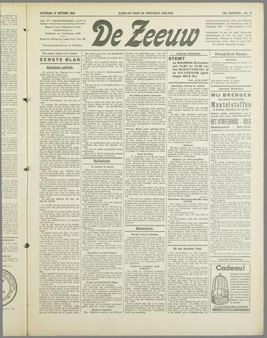 De Zeeuw. Christelijk-historisch nieuwsblad voor Zeeland 1934-10-13