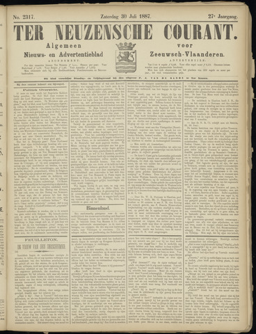 Ter Neuzensche Courant. Algemeen Nieuws- en Advertentieblad voor Zeeuwsch-Vlaanderen / Neuzensche Courant ... (idem) / (Algemeen) nieuws en advertentieblad voor Zeeuwsch-Vlaanderen 1887-07-30