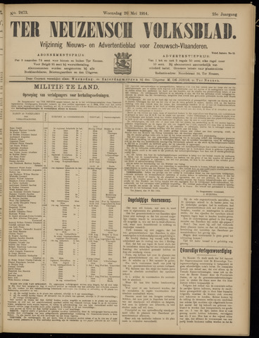 Ter Neuzensch Volksblad. Vrijzinnig nieuws- en advertentieblad voor Zeeuwsch- Vlaanderen / Zeeuwsch Nieuwsblad. Nieuws- en advertentieblad voor Zeeland 1914-05-20