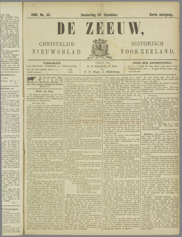 De Zeeuw. Christelijk-historisch nieuwsblad voor Zeeland 1888-12-20