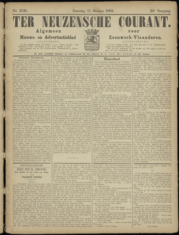 Ter Neuzensche Courant. Algemeen Nieuws- en Advertentieblad voor Zeeuwsch-Vlaanderen / Neuzensche Courant ... (idem) / (Algemeen) nieuws en advertentieblad voor Zeeuwsch-Vlaanderen 1885-10-17