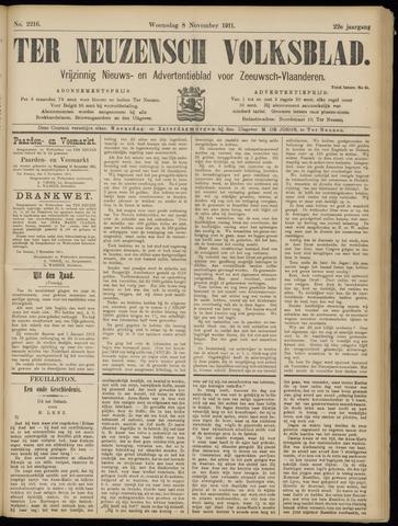 Ter Neuzensch Volksblad. Vrijzinnig nieuws- en advertentieblad voor Zeeuwsch- Vlaanderen / Zeeuwsch Nieuwsblad. Nieuws- en advertentieblad voor Zeeland 1911-11-08