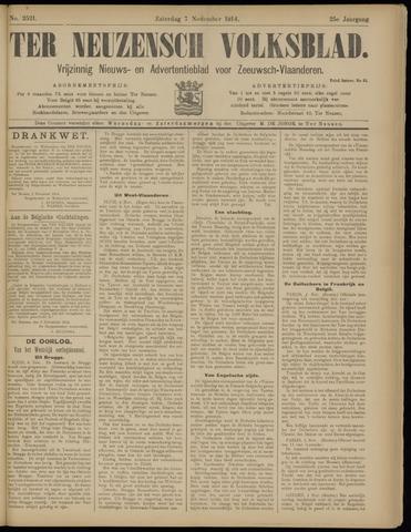 Ter Neuzensch Volksblad. Vrijzinnig nieuws- en advertentieblad voor Zeeuwsch- Vlaanderen / Zeeuwsch Nieuwsblad. Nieuws- en advertentieblad voor Zeeland 1914-11-07
