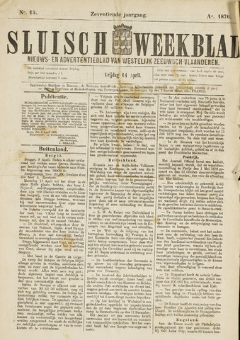 Sluisch Weekblad. Nieuws- en advertentieblad voor Westelijk Zeeuwsch-Vlaanderen 1876-04-14