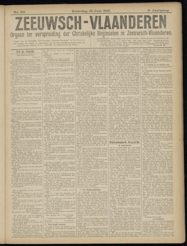 Luctor et Emergo. Antirevolutionair nieuws- en advertentieblad voor Zeeland / Zeeuwsch-Vlaanderen. Orgaan ter verspreiding van de christelijke beginselen in Zeeuwsch-Vlaanderen 1919-06-28