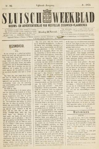 Sluisch Weekblad. Nieuws- en advertentieblad voor Westelijk Zeeuwsch-Vlaanderen 1874-11-24