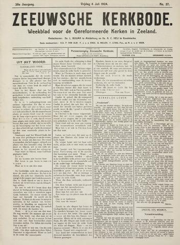 Zeeuwsche kerkbode, weekblad gewijd aan de belangen der gereformeerde kerken/ Zeeuwsch kerkblad 1924-07-04