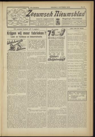 Zeeuwsch Nieuwsblad/Wegeling's Nieuwsblad 1935-10-11