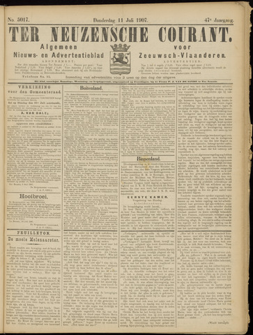 Ter Neuzensche Courant. Algemeen Nieuws- en Advertentieblad voor Zeeuwsch-Vlaanderen / Neuzensche Courant ... (idem) / (Algemeen) nieuws en advertentieblad voor Zeeuwsch-Vlaanderen 1907-07-11