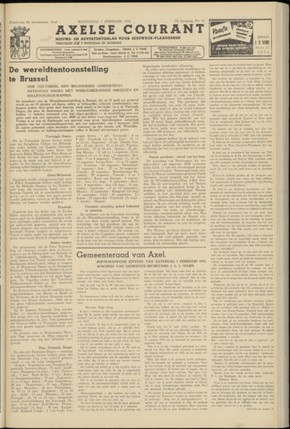 Axelsche Courant 1958-02-05