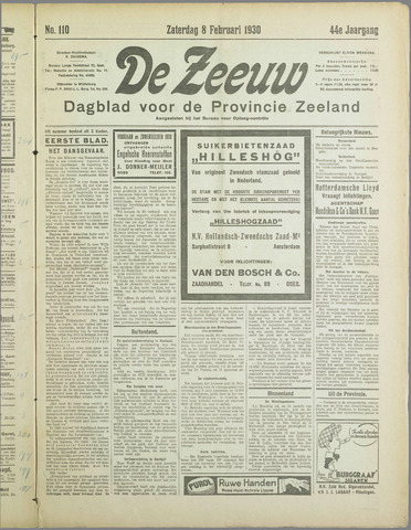De Zeeuw. Christelijk-historisch nieuwsblad voor Zeeland 1930-02-08