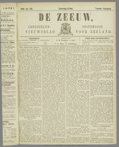 De Zeeuw. Christelijk-historisch nieuwsblad voor Zeeland 1888-05-26