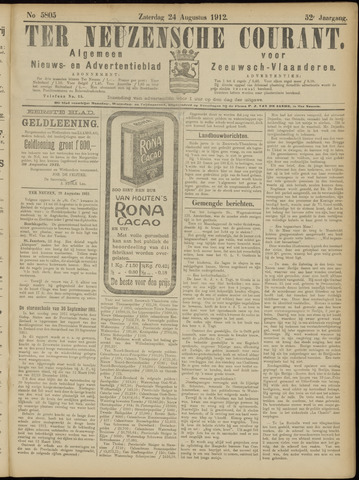 Ter Neuzensche Courant. Algemeen Nieuws- en Advertentieblad voor Zeeuwsch-Vlaanderen / Neuzensche Courant ... (idem) / (Algemeen) nieuws en advertentieblad voor Zeeuwsch-Vlaanderen 1912-08-24