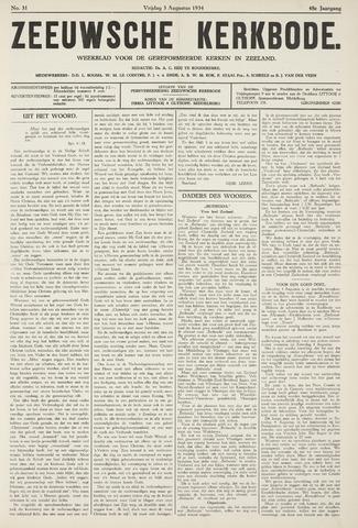 Zeeuwsche kerkbode, weekblad gewijd aan de belangen der gereformeerde kerken/ Zeeuwsch kerkblad 1934-08-03