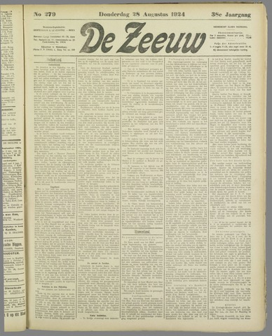 De Zeeuw. Christelijk-historisch nieuwsblad voor Zeeland 1924-08-28