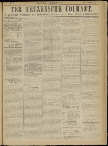 Ter Neuzensche Courant. Algemeen Nieuws- en Advertentieblad voor Zeeuwsch-Vlaanderen / Neuzensche Courant ... (idem) / (Algemeen) nieuws en advertentieblad voor Zeeuwsch-Vlaanderen 1917-12-01