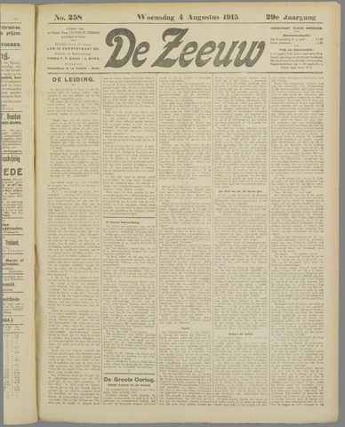 De Zeeuw. Christelijk-historisch nieuwsblad voor Zeeland 1915-08-04