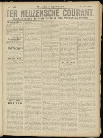 Ter Neuzensche Courant. Algemeen Nieuws- en Advertentieblad voor Zeeuwsch-Vlaanderen / Neuzensche Courant ... (idem) / (Algemeen) nieuws en advertentieblad voor Zeeuwsch-Vlaanderen 1924-08-13