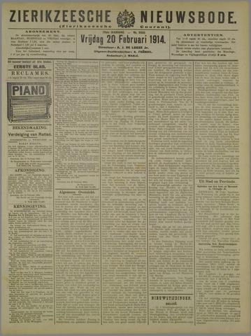 Zierikzeesche Nieuwsbode 1914-02-20