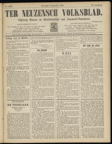 Ter Neuzensch Volksblad. Vrijzinnig nieuws- en advertentieblad voor Zeeuwsch- Vlaanderen / Zeeuwsch Nieuwsblad. Nieuws- en advertentieblad voor Zeeland 1913-09-06