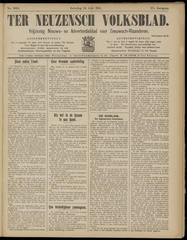 Ter Neuzensch Volksblad. Vrijzinnig nieuws- en advertentieblad voor Zeeuwsch- Vlaanderen / Zeeuwsch Nieuwsblad. Nieuws- en advertentieblad voor Zeeland 1916-06-24