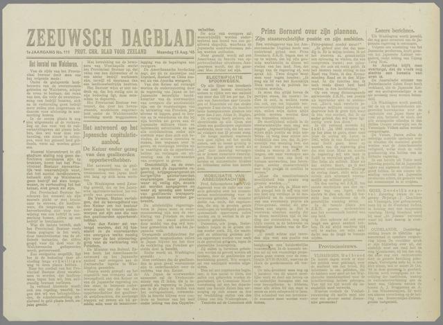 Zeeuwsch Dagblad 1945-08-13