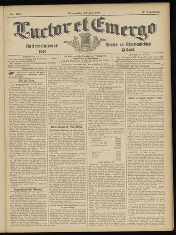 Luctor et Emergo. Antirevolutionair nieuws- en advertentieblad voor Zeeland / Zeeuwsch-Vlaanderen. Orgaan ter verspreiding van de christelijke beginselen in Zeeuwsch-Vlaanderen 1914-07-29