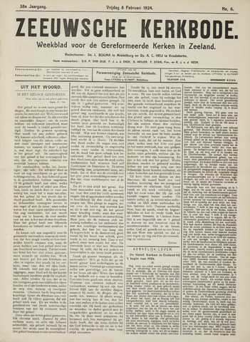 Zeeuwsche kerkbode, weekblad gewijd aan de belangen der gereformeerde kerken/ Zeeuwsch kerkblad 1924-02-08