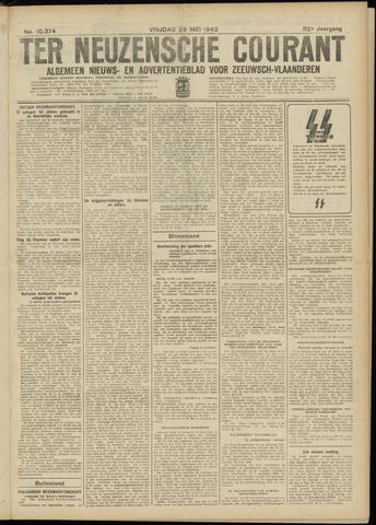 Ter Neuzensche Courant. Algemeen Nieuws- en Advertentieblad voor Zeeuwsch-Vlaanderen / Neuzensche Courant ... (idem) / (Algemeen) nieuws en advertentieblad voor Zeeuwsch-Vlaanderen 1942-05-29