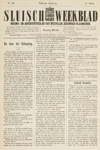 Sluisch Weekblad. Nieuws- en advertentieblad voor Westelijk Zeeuwsch-Vlaanderen 1874-07-28