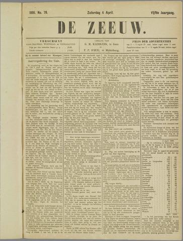 De Zeeuw. Christelijk-historisch nieuwsblad voor Zeeland 1891-04-04