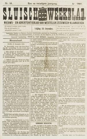 Sluisch Weekblad. Nieuws- en advertentieblad voor Westelijk Zeeuwsch-Vlaanderen 1880-12-24